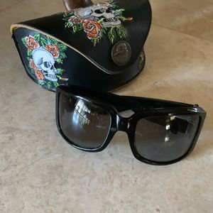 Ed Hardy sun glasses and case